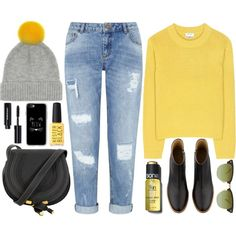 Bright Yellow by monmondefou on Polyvore featuring Acne Studios, Miss Selfridge, A.P.C., Casetify, Ray-Ban, Bobbi Brown Cosmetics, Sonia Kashuk, Kester Black and yellow
