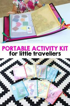 Brilliant Car Hacks for Mom Portable-Activity-Kit-for-Little-Travellers-Mama.Portable-Activity-Kit-for-Little-Travellers-Mama. Road Trip Activities, Infant Activities, Preschool Activities, Car Activities For Toddlers, Toddler Airplane Activities, Kids Travel Activities, Quiet Time Activities, Preschool Age, Diy For Kids