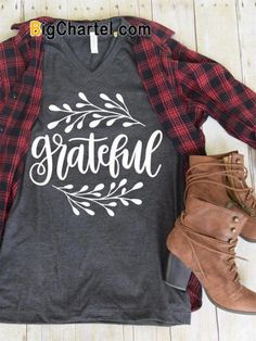 """Sew T-Shirt """"Grateful"""" Tee - StuffPlus Boutique - Screen Printed on High Quality Bella Canvas Heather and Tri-Blend Tees. Shirts are Unisex Sizing Fall Outfits, Cute Outfits, Fashion Outfits, Fashion Clothes, Tomboy Outfits, Fashion Skirts, Fall Clothes, Emo Outfits, Fashion 2016"""