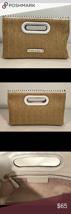 MICHAEL KORS Woven Straw Rosalie Clutch Handbag MICHAEL KORS Woven Straw Rosalie Large Clutch Handbag Optic White   Product Description Made of high quality woven straw with genuineleather accents.   Measurements  (approximate) 12 1/2 inches across the bottom and 11 1/2 inches across the top (L) by 2 1/2 inches (W) by 7 3/4 inches (H) (approximate) 23 inch strap drop Condition Previously owned but looks to never have been used as it is in excellent condition. Michael Kors Bags Clutches…