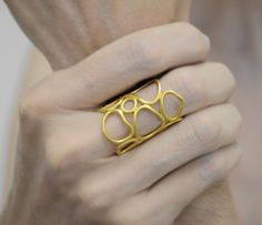 gold organic ring 24K gold plated sterling door katerinaki1977