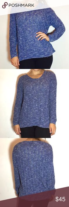FREE PEOPLE Blue Marled Sweater Free People Blue Marled Sweater -Size S. -Super soft and lightweight! -55% cotton/45% nylon -Excellent condition!  NO Trades. Please make all offers through offer button. Free People Sweaters