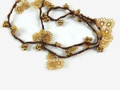 Gold Color  Oya Flowers Crochet  Green Eye Glass by Nakkashe