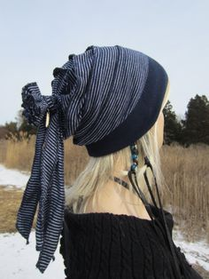 Rag Rose Back Slouch Beanie Cashmere Cotton Slouchy Navy Stripe By  Vacationhouse A805 Recycled Denim Crafts a000da81747a