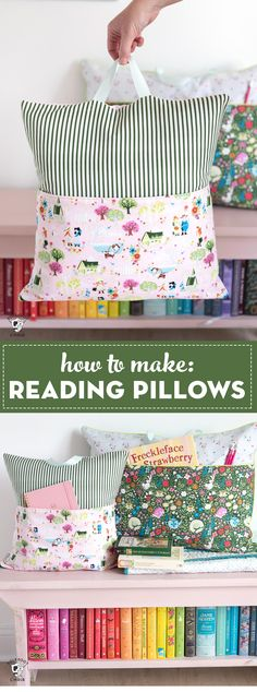 Learn how to make reading pillows with this easy and free reading pillow sewing pattern. They are great things to make for kids as gifts and fun as teacher gifts to! #readingpillow #polkadotchair #sewing
