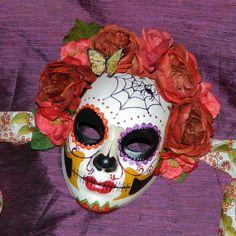 Halloween Dia de los Muertos Mask Deaths Head Skull by Masquefaire, $58.00