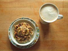 oatmeal with flax, hemp hearts, raisins, coconut, banana, molasses, peanut butter, and soy milk, coffee with soy milk - healthy breakfast!