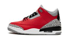 """The Air Jordan 3 """"Red Cement"""" is a special edition of the iconic silhouette released during NBA All-Star Weekend 2020 in Chicago. Basically a red version of the classic """"Black/Cement"""" colorway, the fi Air Jordan 3, Jordan Retro 3, Air Jordan Shoes, Retro Sneakers, Air Max Sneakers, Jordan Sneakers, Sneakers Nike, Zapatillas Nike Jordan, Shopping"""