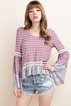 Printed Blouse with Crochet Lace Trim