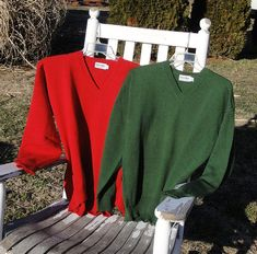 Green or Red Men's Sweater V-Neck Soft by ChesterRiverKnitting  $150