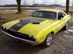 Curious Yellow 1970 Dodge Challenger RT 440 http;//finelinedrivingacademy.co.uk