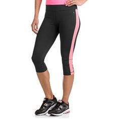 "Danskin Now Women's 17"" Sport Capri Tight with Side Color Accent and Bottom Shirring"