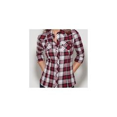 G by GUESS Women's Fawn Long-Sleeve Plaid Shirt, PURPLE POTION (LARGE)... via Polyvore featuring tops, tartan top, tartan plaid shirt, long-sleeve shirt, plaid shirts and purple long sleeve shirt