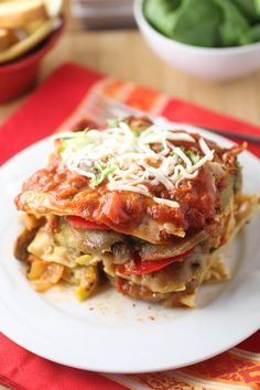 Roasted Vegetable Lasagna with Roasted Red Pepper Sauce