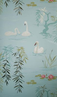 The wallpaper Swan Lake - from Nina Campbell is wallpaper with the dimensions m x 10 m. The wallpaper Swan Lake - belongs to the popul Swan Wallpaper, Scenic Wallpaper, Luxury Wallpaper, Wallpaper Decor, Fabric Wallpaper, Designer Wallpaper, Thistle Wallpaper, Kitchen Wallpaper, Craft Ideas