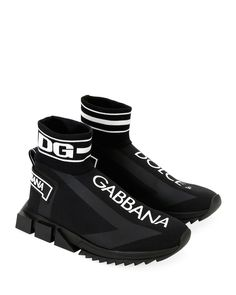 Men's Sorrento High-Top Sock Sneakers by Dolce & Gabbana at Neiman Marcus Dolce Gabbana Hombre, Dolce Gabbana Sneakers, Dolce And Gabbana Man, Sneakers Fashion, Fashion Shoes, Shoes Sneakers, Shoes Men, Knit Sneakers, Yeezy Shoes