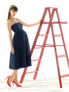 BM Dress Designs For Pregnant Woman - in ocean blue though - like the length and style for beach wedding...