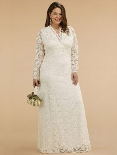 Custom Made Empire V-neck Long Sleeves Lace Plus Size Wedding Gowns on AliExpress.com. $138.00
