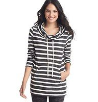 Striped Drawstring Neck Tunic - Detailed with a draped drawstring neck for countless ways to get cute, this striped style captures that perfect sporty sweet vibe. Long sleeves. Welt pockets. Banded neckline, cuffs and hem.