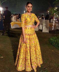 Aditi Rao Hydari in a yellow lehenga by Sonali Gupta 1 - Bollywood - Celebrity fashion 2016 Yellow Lehenga, Silk Lehenga, Indian Wedding Outfits, Indian Outfits, Indian Clothes, Indian Weddings, Bridal Outfits, Indian Attire, Indian Ethnic Wear