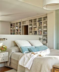 Mini room divider as headboard