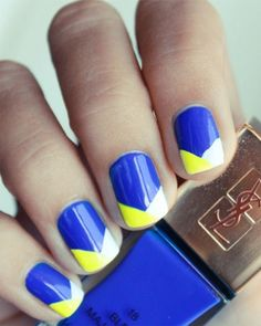 Blue and Yellow Pretty Nail Art