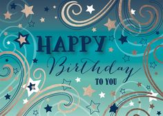 Teal Starburst Birthday - Birthday Cards from CardsDirect