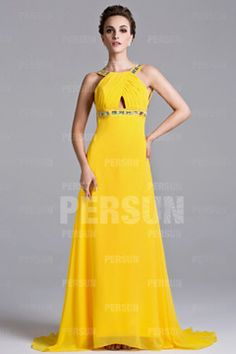 Column Yellow tone Sexy Jewel Backless Pleats Long Prom dress http://jewelrygeet.com/