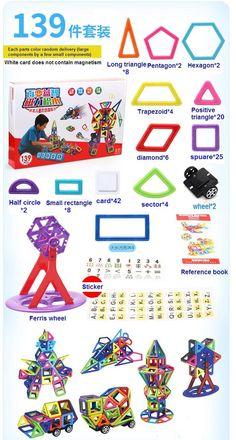 53.40$  Know more  - 139pcs Magnetic building blocks construction magnetic Designer toys model build kits toys for children