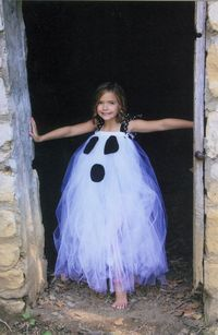 Cute & inexpensive DIY Idea for unique costume! Use pic as guide to create. Get plenty of white tulle from fabric store and black felt for the ghost face.