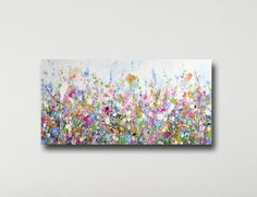 Large Panoramic Canvas Art Floral Wall Art Pink and Purple