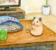 Hamster Kawaii, Baby Hamster, Cute Animal Drawings, Kawaii Drawings, Cute Drawings, Japanese Hamster, Hamster Live, Baby Animals, Cute Animals