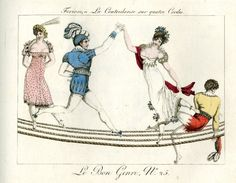 Plate 25: four acrobats perform a dance on four ropes suspended in the air. 1802-12 Hand-coloured etching