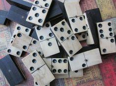 Antique Ebony and Bone Dominoes