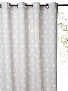Vorhang mit Ösen, Baumwolle, bedruckt BLAUGRAU/STERNE+GRAU/STERNE+MARINE/STERNE+ROSA GETUPFT