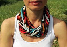 FABRIC COLOR NECKLACE, infinity scarf, summer necklace, recycled scarf, statement necklace