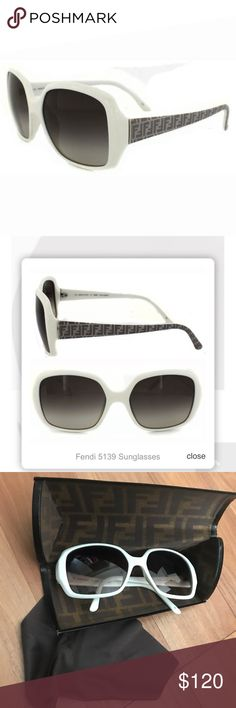 Fendi Sunglasses 5139 Fendi Sunglasses 5139 105 White Brown Gradient are a classic shape and the instantly recognisable F Fendi pattern features like it does on so many of Fendi's products, along the temples for that perfect Fendi branding. used maybe twice? in excellent condition! no scratches or fading anywhere it's nearly perfect. comes with the original fendi case that shows a little wear because i haven't been using the shades so they've been stored away. and the original brown fendi…