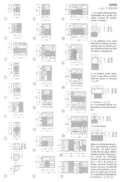 """Conceptos básicos del baño actual, desarrollados por Ernst Neufert en su clásico """"Arte de proyectar en Arquitectura"""""""