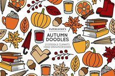 Hand Designs, Designs To Draw, Autumn Doodles, Graphic Illustration, Illustrations, Autumn Nails, Planner Pages, Design Bundles, School Design
