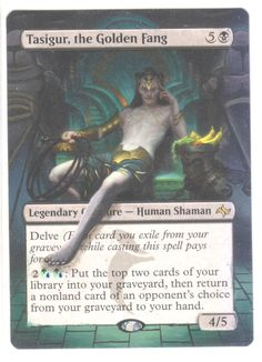 TASIGUR, THE GOLDEN FANG HAND PAINTED ALTERED ART EXTENDED MAGIC MTG FATE in Toys & Hobbies | eBay