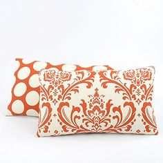 Orange Creamsicle Collection - Lumbar Decorative Throw Pillow with Insert - Damask and Polka Dots - Orange and Cream Hues - 1 Pillow Cover, 2 Looks Orange Curtains, Orange Creamsicle, Throw Pillow Covers, Damask, Decorative Throw Pillows, Polka Dots, Living Room, Collection, Accent Pillows