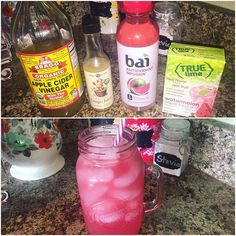 Oh my goodness, this good girl moonshine tastes exactly like a liquid watermelon jolly rancher!!! Soooo good!!  I used 2 Tbsp ACV, 1Tbsp @the_ginger_people Ginger juice, a @drinkbai Kula Watermelon antioxidant infusion, and a Trulime Watermelon Aqua fresca packet. (I got the Bai and the ACV at my Wal Mart, the Trulime at Publix, and the ginger juice at my local health food store) Stir well.  Add ice to the tippy top of the 1qt jar.  It has 15 calories and 2 grams of sugar total, but wow...