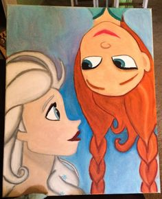 Disney's Frozen Elsa & Anna Canvas Painting by MayDmeSMILE on Etsy