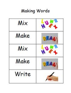 Sight Word Practice - Mix, Make, Write