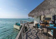 Enjoy stunning views of the ocean from your water bungalow deck. #FourSeasonsKudaHuraa