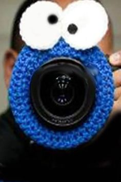 This lens hood is the perfect distraction to getting kids to smile! It fits over lenses to block your camera body for those shy models. works on most all size lens Crochet Mittens, Crochet Hats, Toddler Toys, Kids Toys, Crochet Camera, Crochet Monsters, Photographer Gifts, Crochet Food, Cookie Time