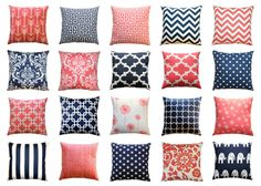 Decorative Pillow Cover, Navy and Coral Pillows, Throw Pillows, Zippered Pillow, Couch Pillows, Bed Pillows, Mix & Match, Navy Blue Accents