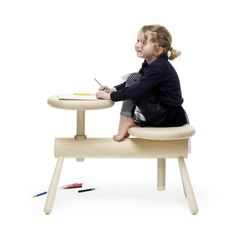 Swedish architect and designer Mia Cullin has produced a range of benches and stools with adjustable seats modelled on traditional wooden peg furniture and piano stools.