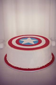 captain america cake Add other character logos around the side - batman, hulk, spiderman, green lantern, flash ... ??