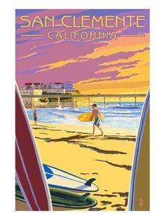 San Diego, California - Beach and Pier - Lantern Press Artwork Giclee Art Print, Gallery Framed, White Wood), Multi San Diego, Beach Art, Ocean Beach, Ocean Art, Deco Surf, San Clemente California, Pub, Poster Vintage, Vintage Signs